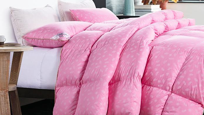 润波顿白鹅绒粉红色羽绒被